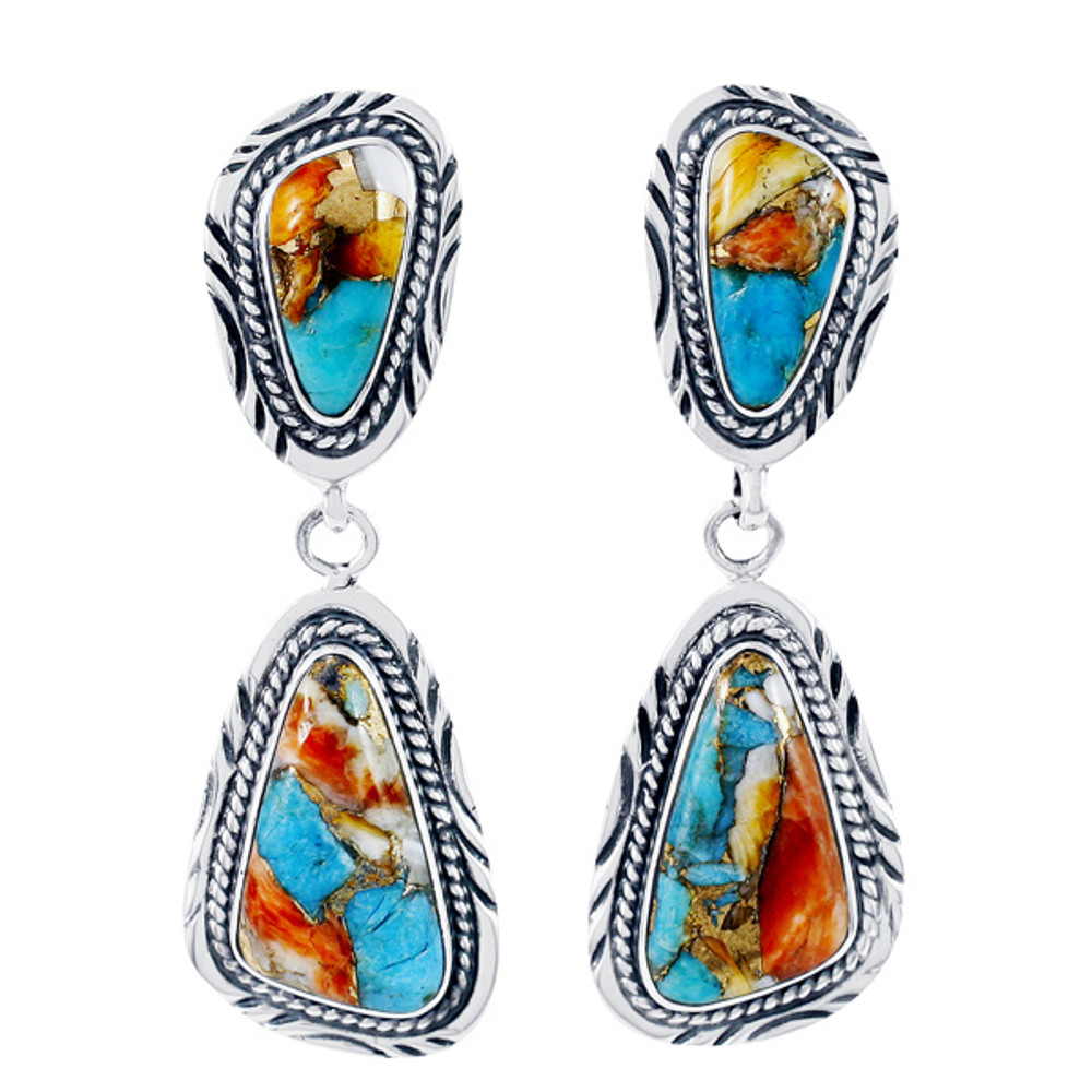 Sterling Silver Earrings Spiny Turquoise E1322-C89