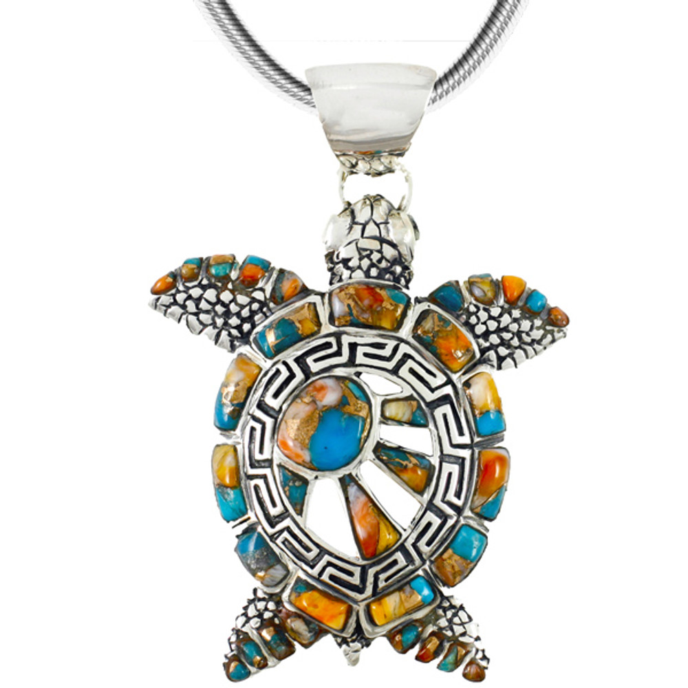Sterling Silver Turtle Pendant Spiny Oyster P3183-C89