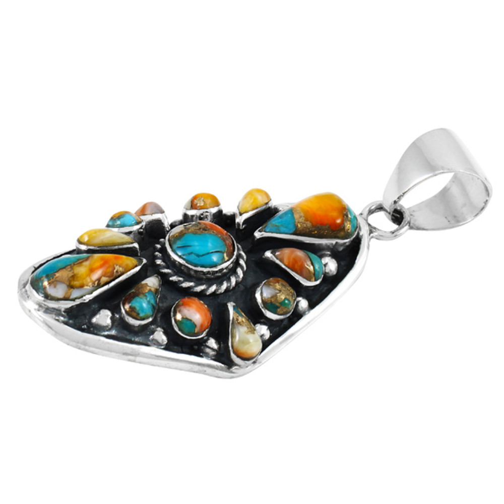 Spiny Turquoise Pendant Sterling Silver P3116-C89