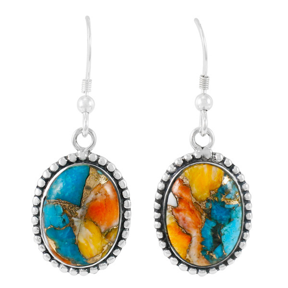 Spiny Turquoise Earrings Sterling Silver E1323-C89