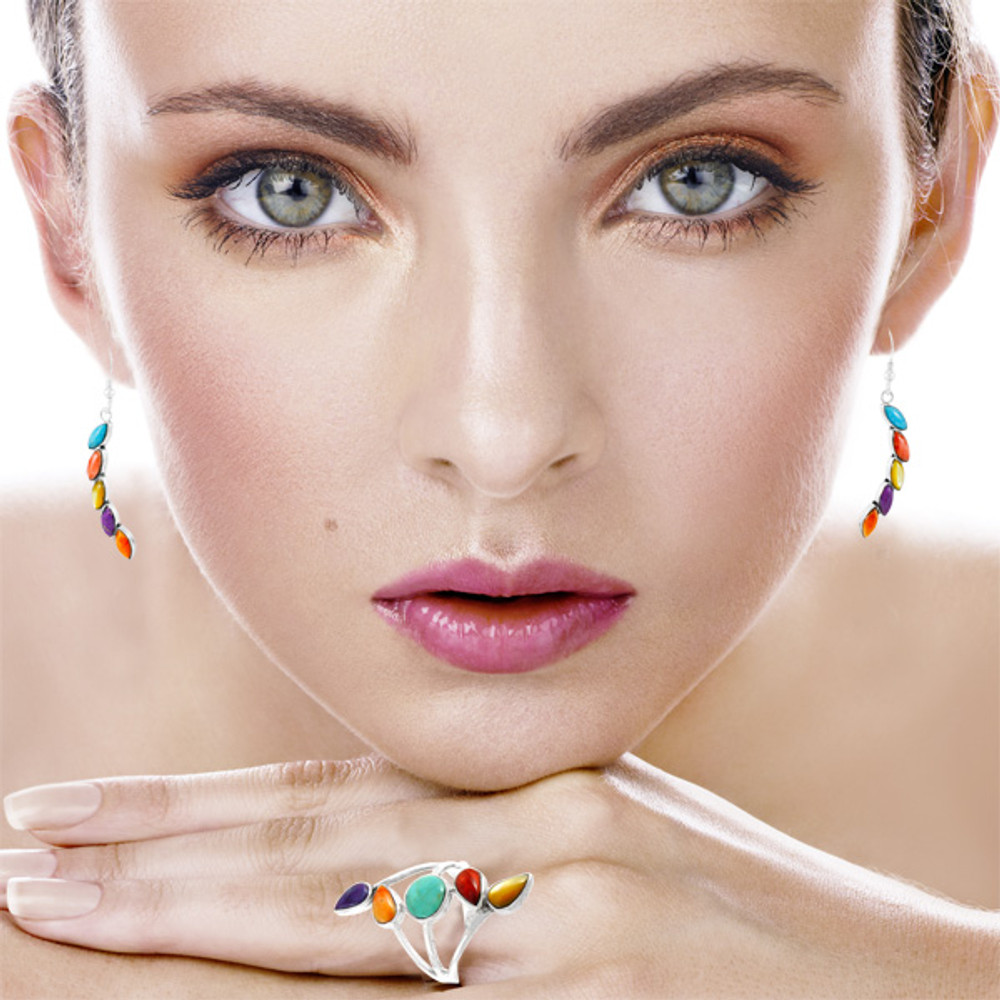 Multi Gemstones Earrings Sterling Silver E1324-C71
