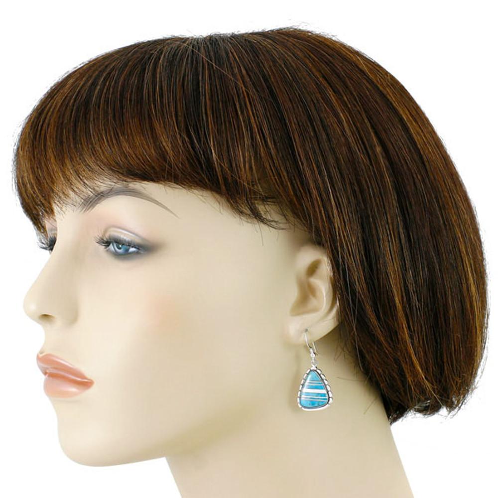 Sterling Silver Drop Earrings Turquoise E1326-C05