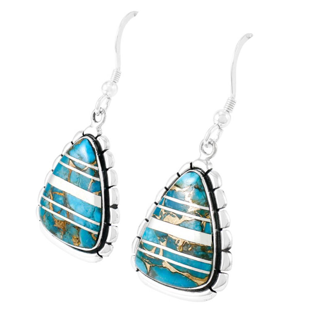 Sterling Silver Drop Earrings Matrix Turquoise E1326-C84