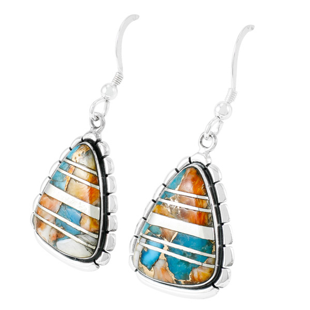Sterling Silver Drop Earrings Spiny Turquoise E1326-C89