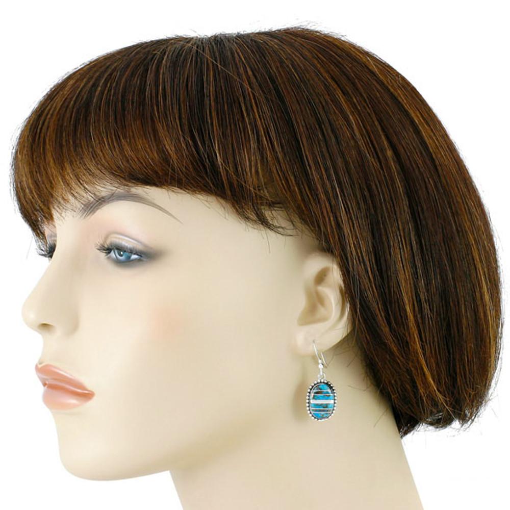 Sterling Silver Drop Earrings Matrix Turquoise E1323-C84