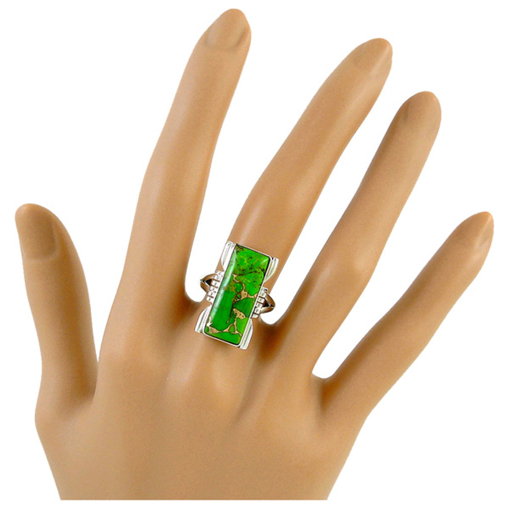 Green Turquoise Ring Sterling Silver R2017-C76