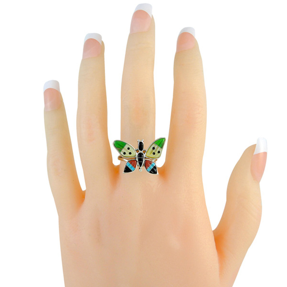 Butterfly Ring Sterling Silver Multi Gemstone R2287-C01