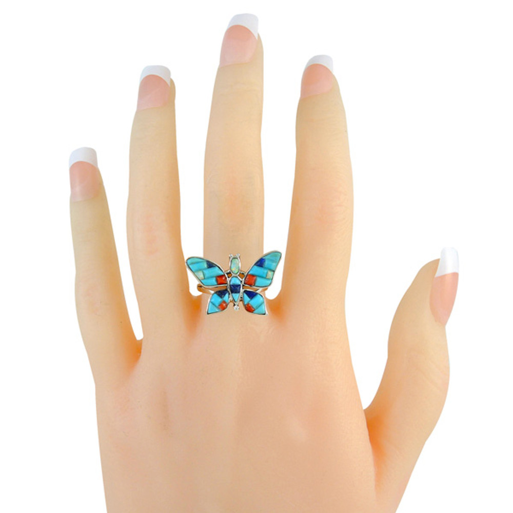 Butterfly Ring Sterling Silver Turquoise R2287-C55