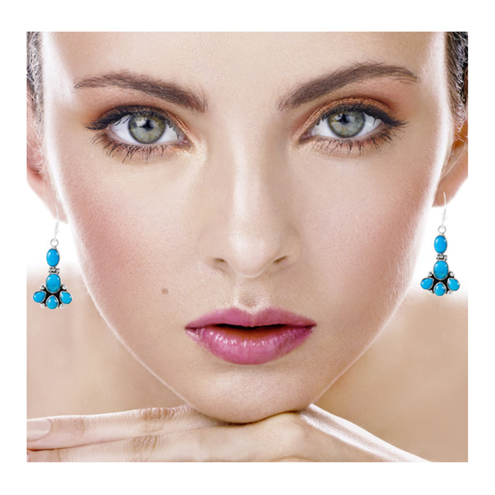Sterling Silver Earrings Turquoise E1327-C75