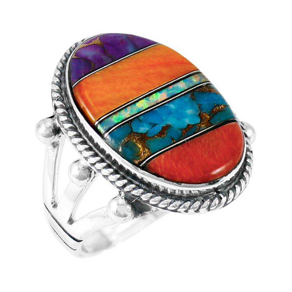 Multi-Gemstone Ring Sterling Silver R2381-C00