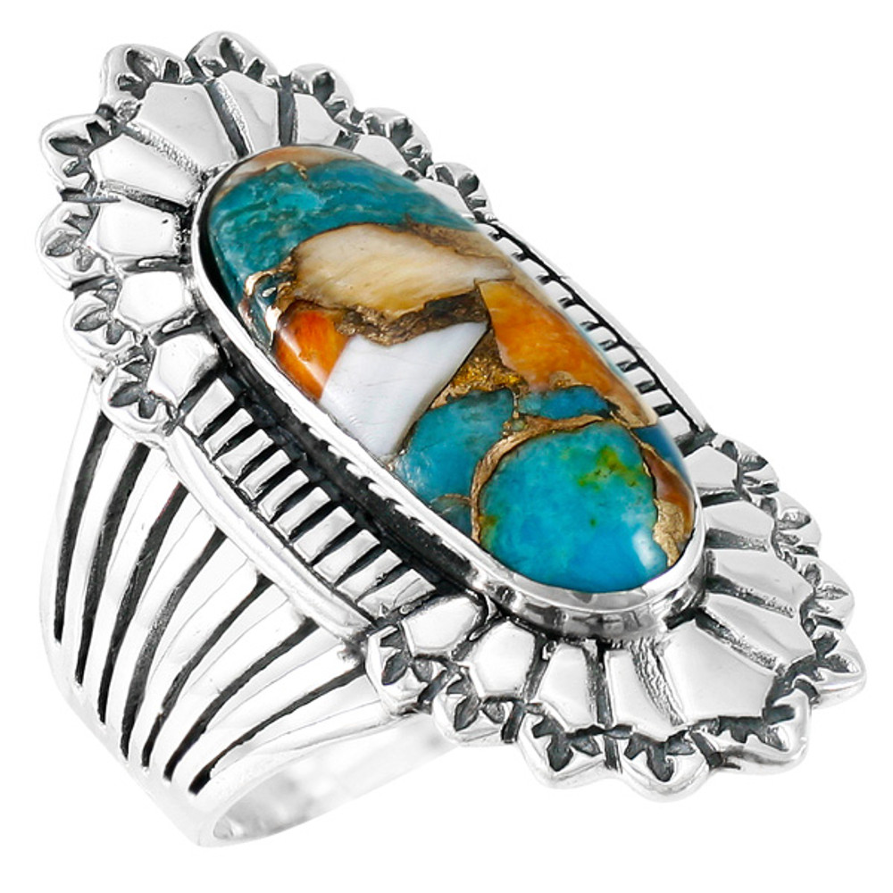 Spiny Turquoise Ring Sterling Silver R2427-C89
