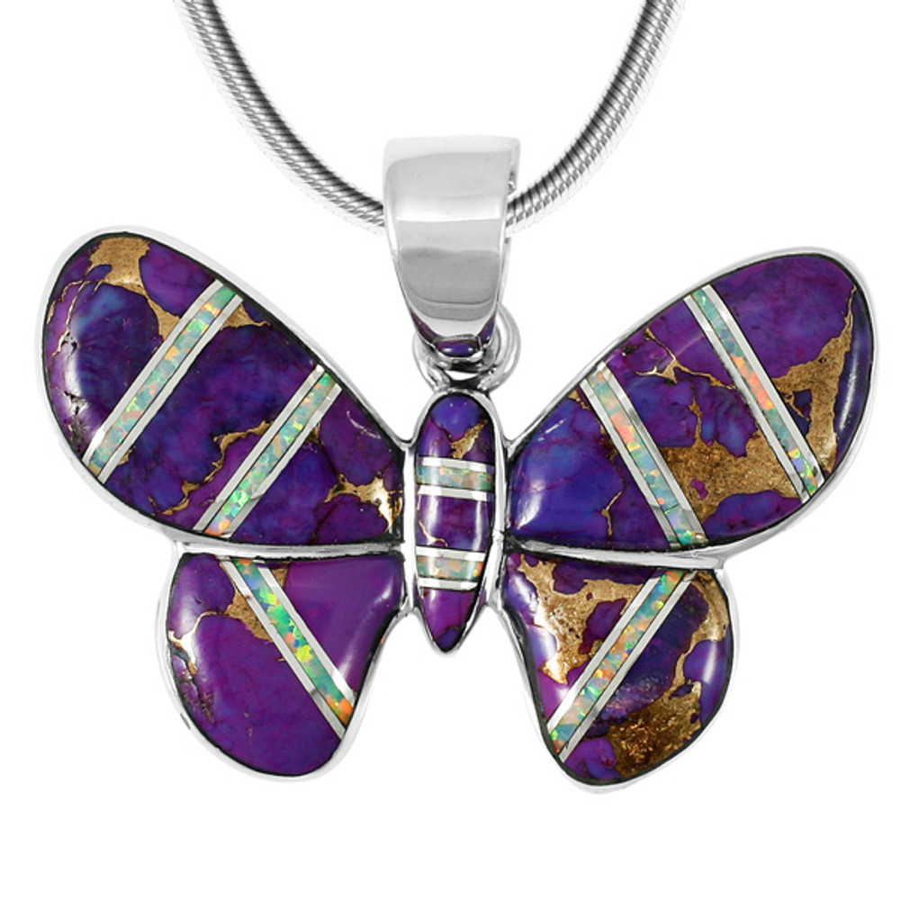 Purple Turquoise Butterfly Pendant Sterling Silver P3146-C23