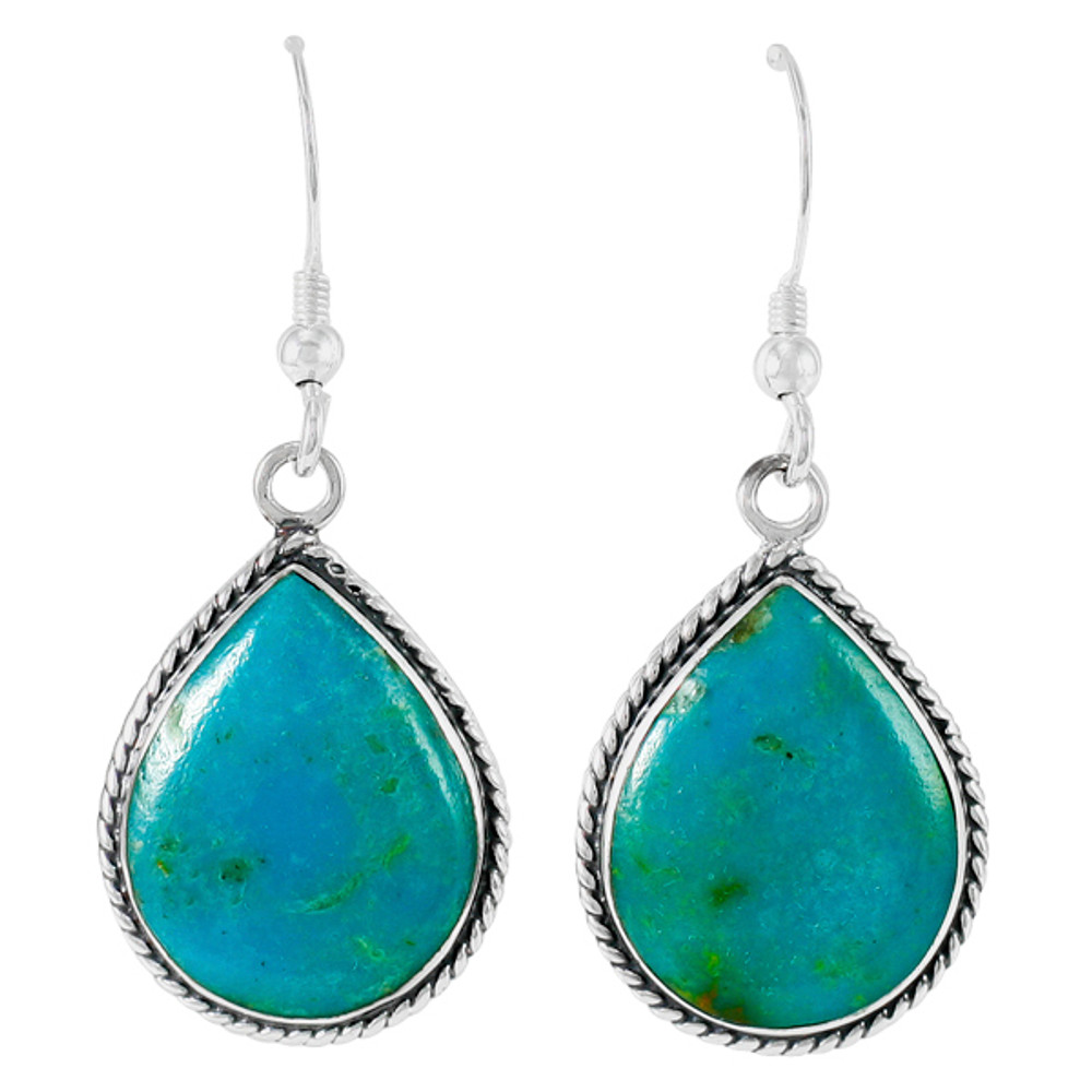 Greenish-Blue Turquoise Earrings Sterling Silver E1269-C88