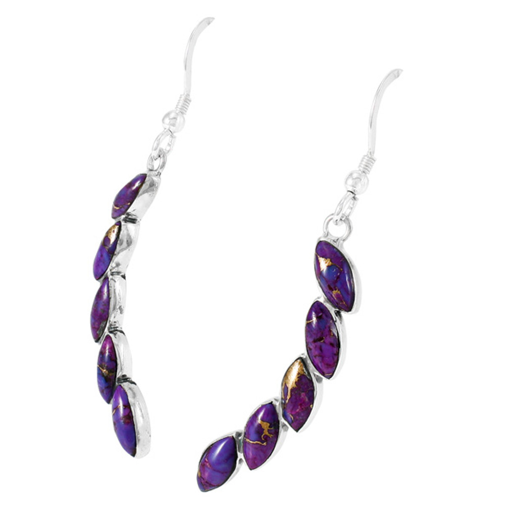 Purple Turquoise Earrings Sterling Silver E1324-C77