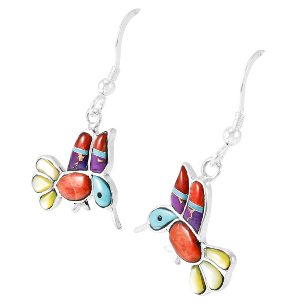 Sterling Silver Hummingbird Earrings Multi Gemstones E1188W-C01