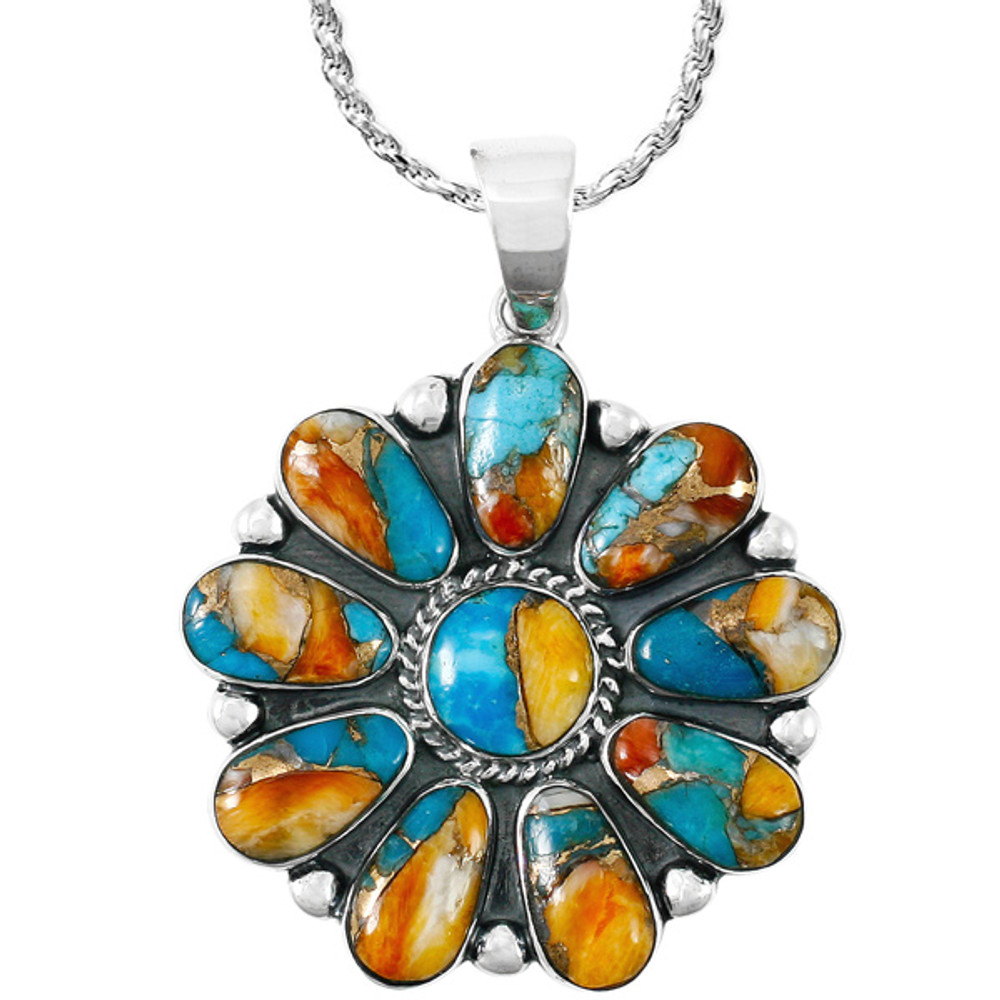 Sterling Silver Flower Pendant Spiny Turquoise P3193-C89