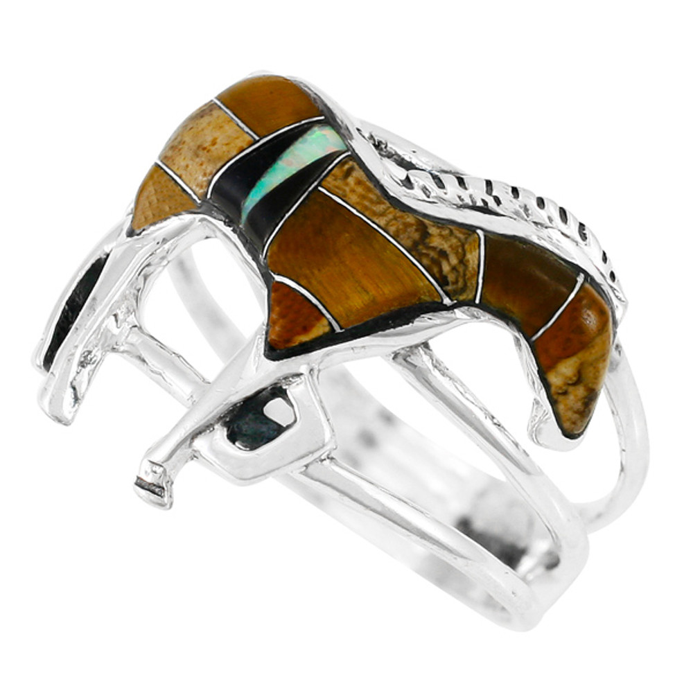 Horse Ring Sterling Silver Tigers Eye R2018-C33