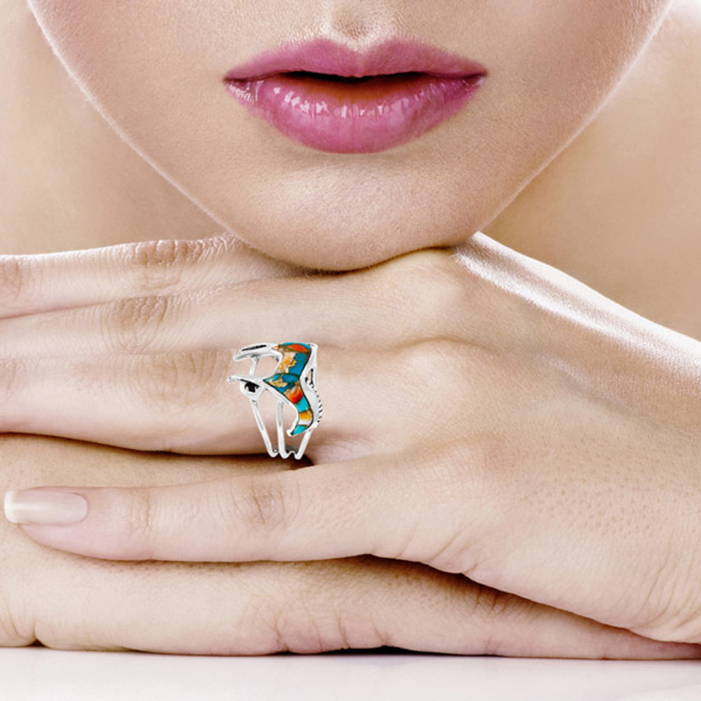 Horse Ring Sterling Silver Spiny Turquoise R2018-C89