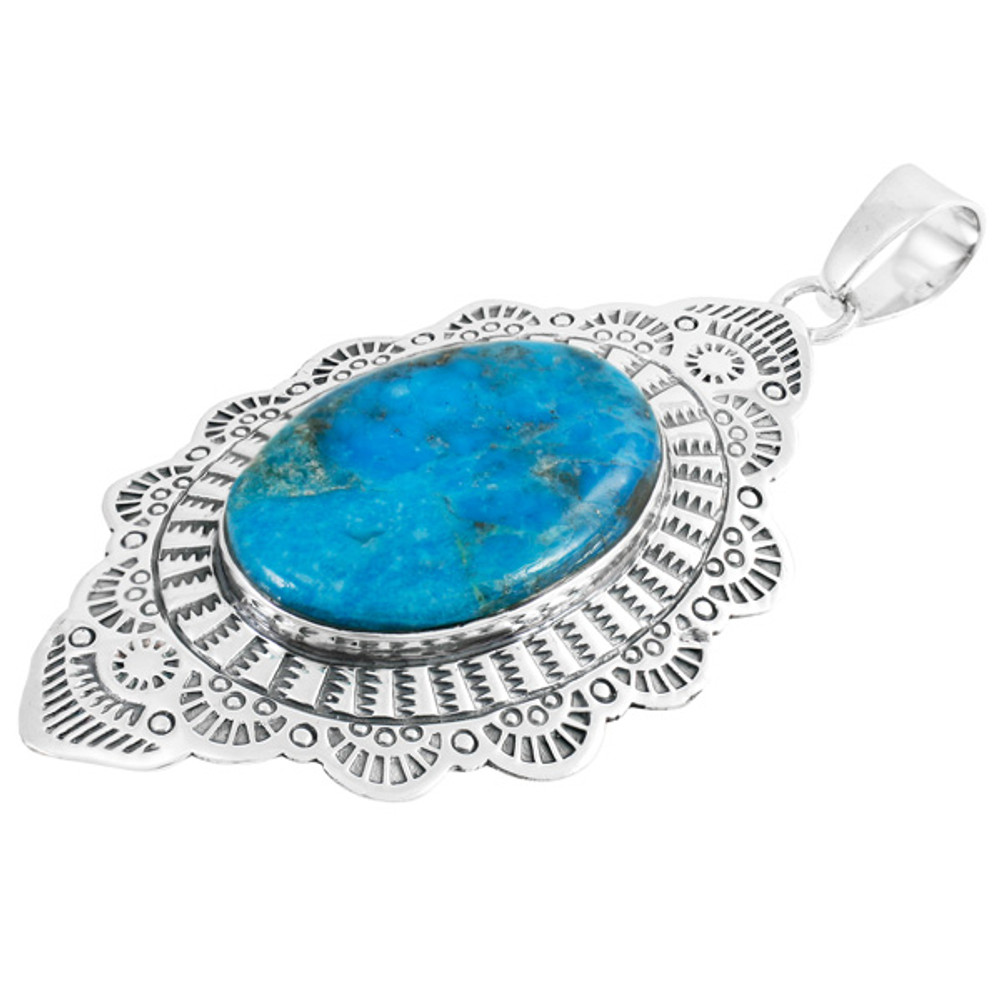 Sterling Silver Dangle Pendant Turquoise P3279-C75