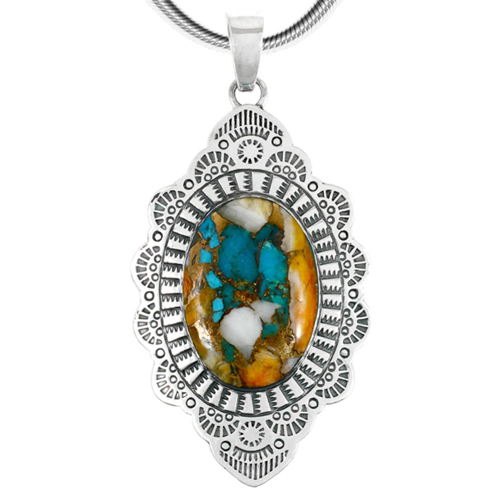 Sterling Silver Pendant Spiny Turquoise P3279-C89
