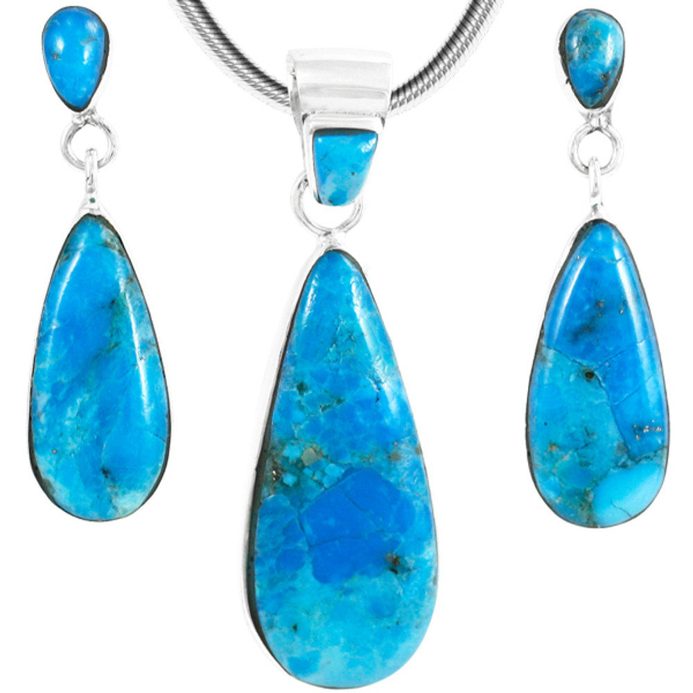 Turquoise Pendant & Earrings Set Sterling Silver PE4014-C87