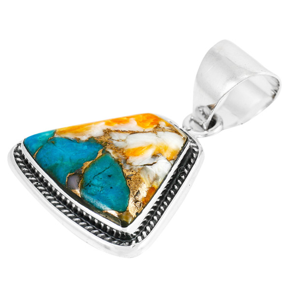 Spiny Turquoise Pendant Sterling Silver P3282-C89