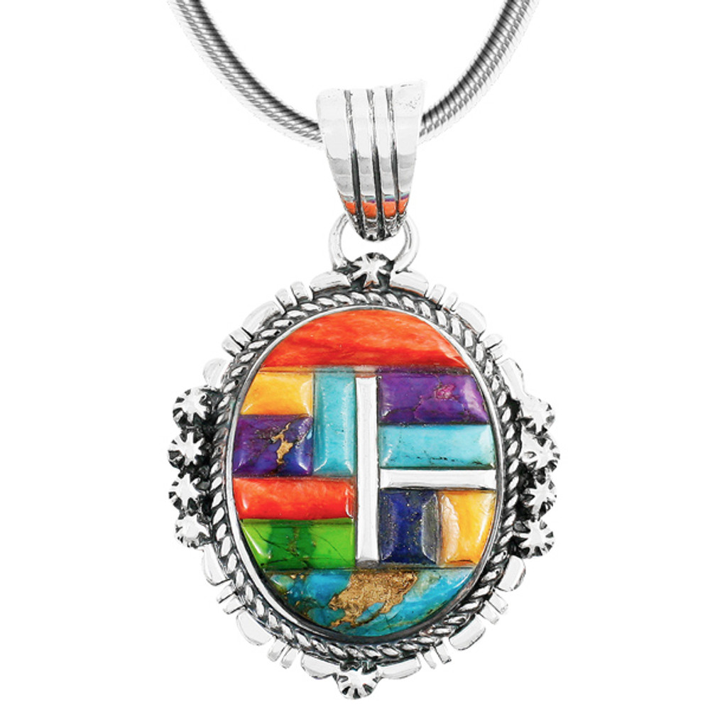 Sterling Silver Pendant Multi Gemstone P3280-C51