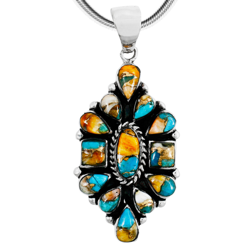 Spiny Turquoise Pendant Sterling Silver P3284-C89