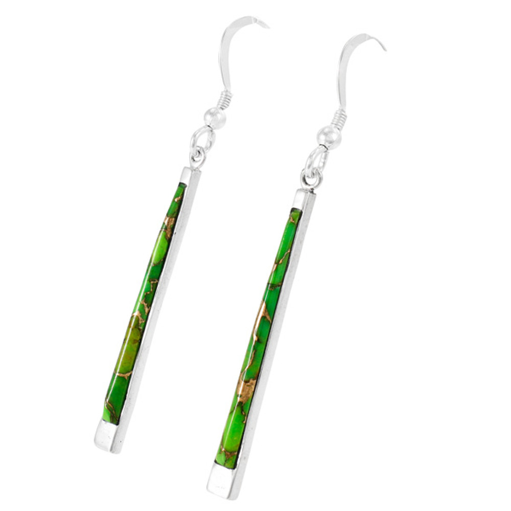 Green Turquoise Earrings Sterling Silver E1333-C76