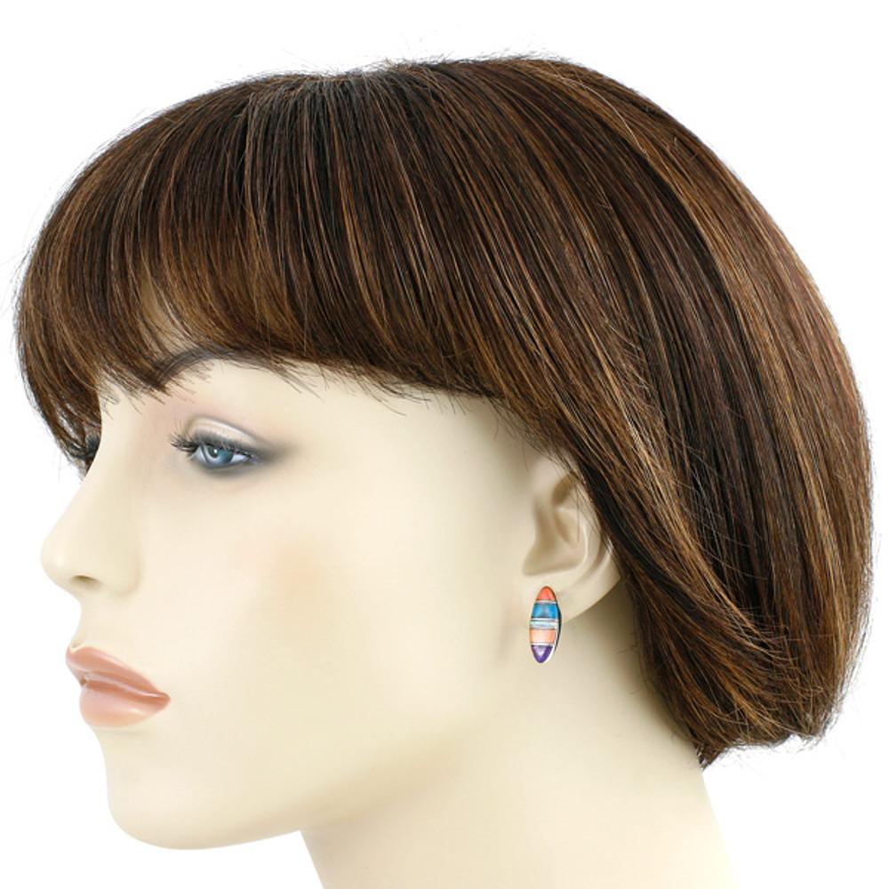 Sterling Silver Pendant & Earrings Set Multi Gemstones PE4028-C00