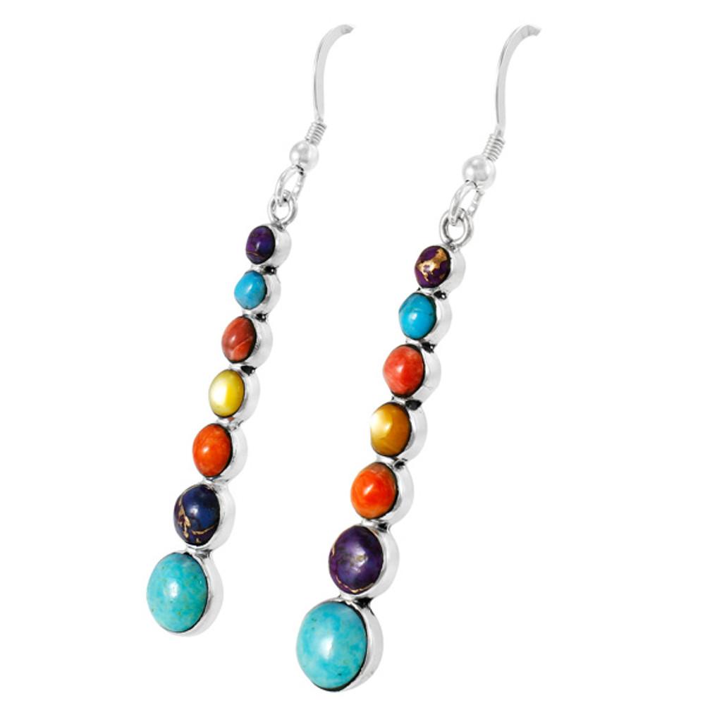 Multi Gemstones Earrings Sterling Silver E1334-C71