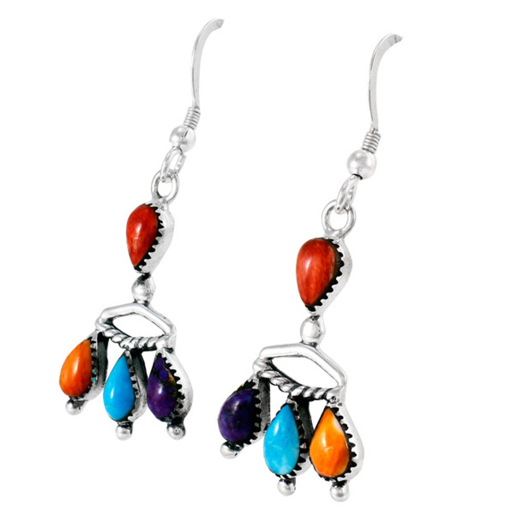 Multi Gemstones Earrings Sterling Silver E1337-C71