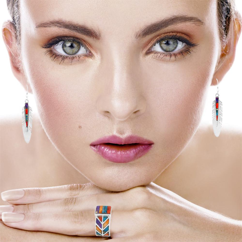 Feather Earrings Multi Gemstones Sterling Silver E1339-C00