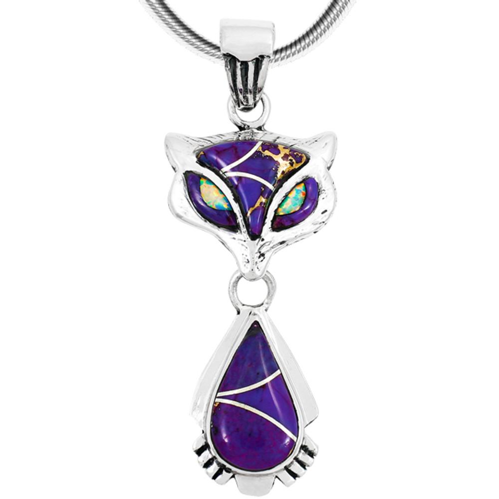 Sterling Silver Fox Pendant Purple Turquoise P3150-C07