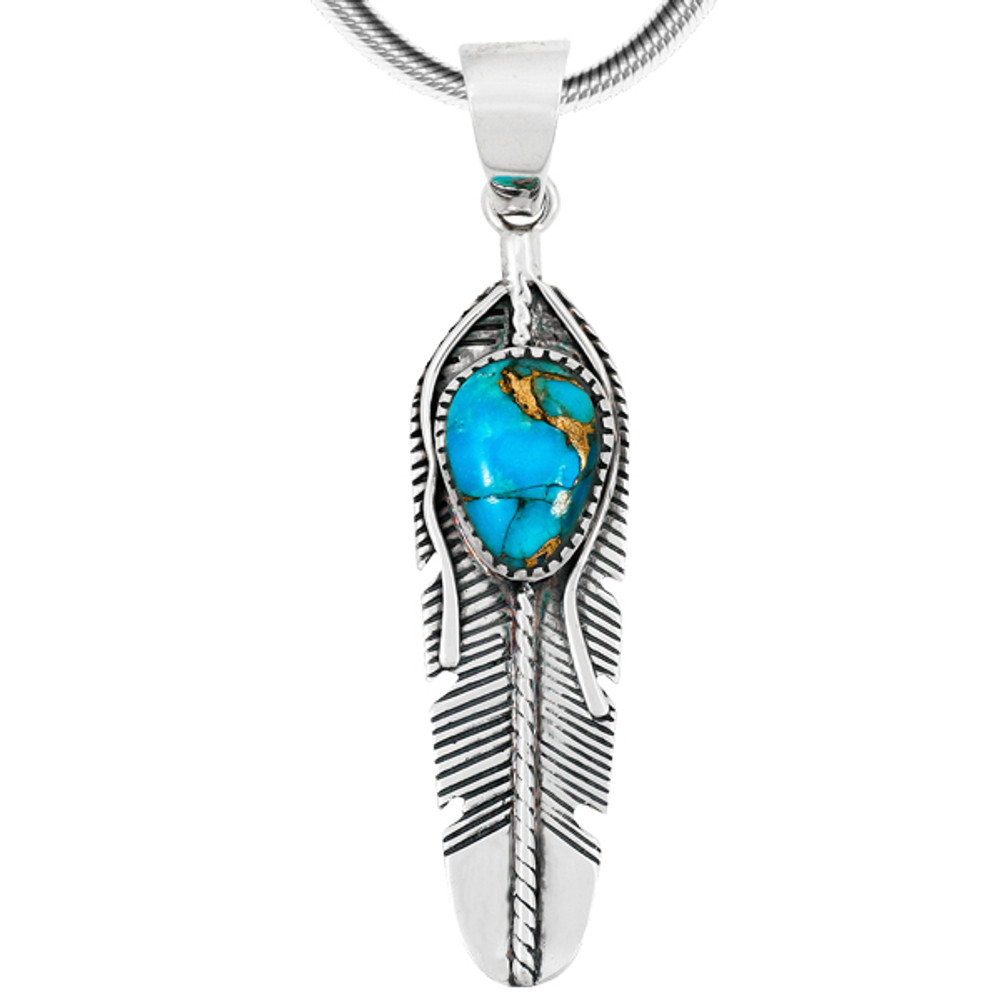 Matrix Turquoise Feather Pendant Sterling Silver P3285-C84