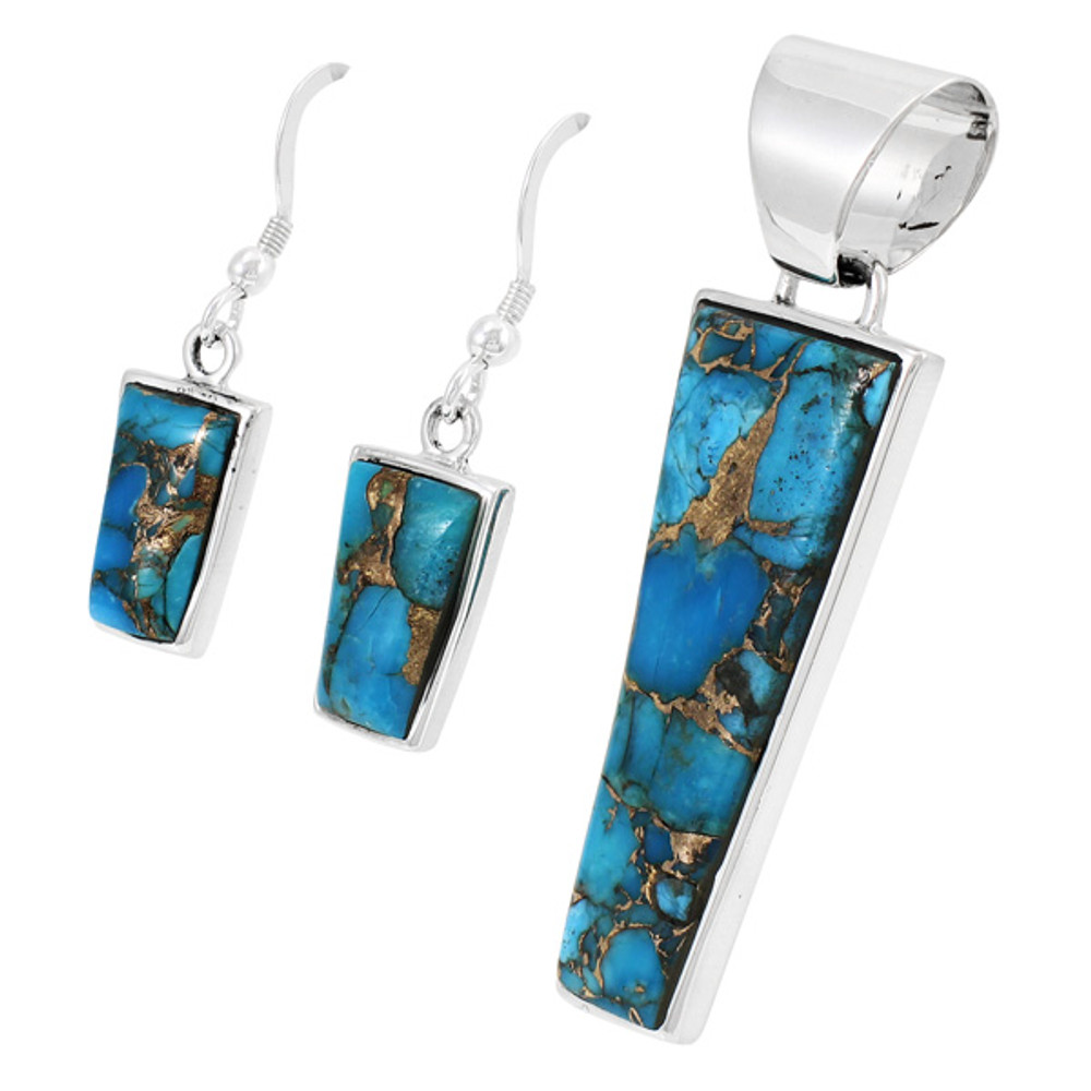Sterling Silver Pendant & Earrings Set Matrix Turquoise PE4012-C84