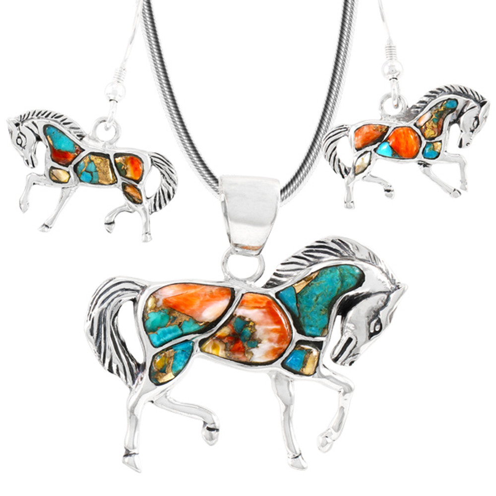 Sterling Silver Horse Pendant & Earrings Set Spiny Turquoise PE4016-C89