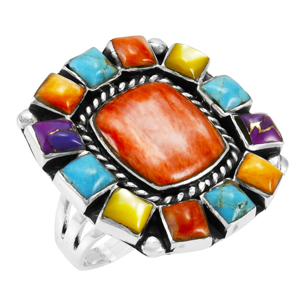 Multi Gemstone Ring Sterling Silver R2458-C71