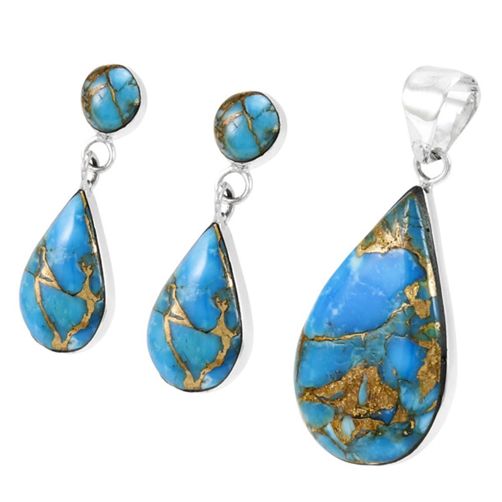 Matrix Turquoise Sterling Silver Pendant & Earrings Set PE4023-LG-C84