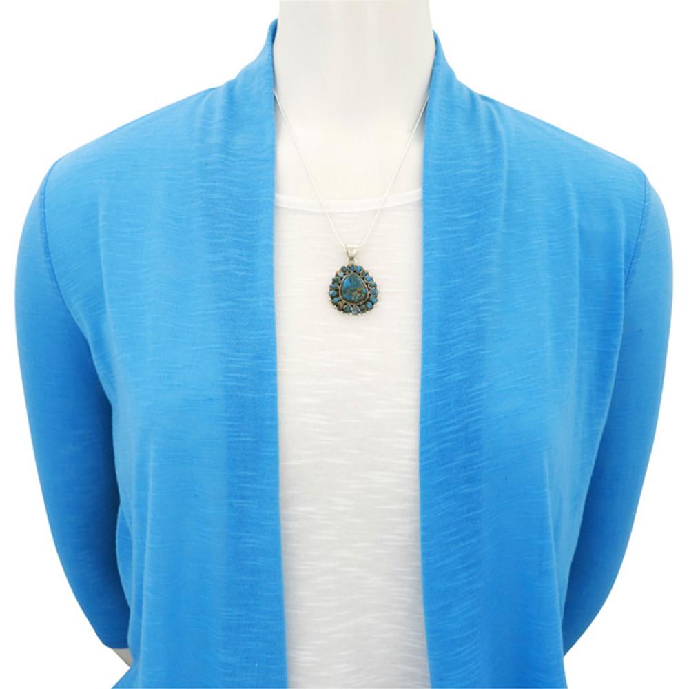 Matrix Turquoise Sterling Silver Pendant & Earrings Set PE4024-SM-C84