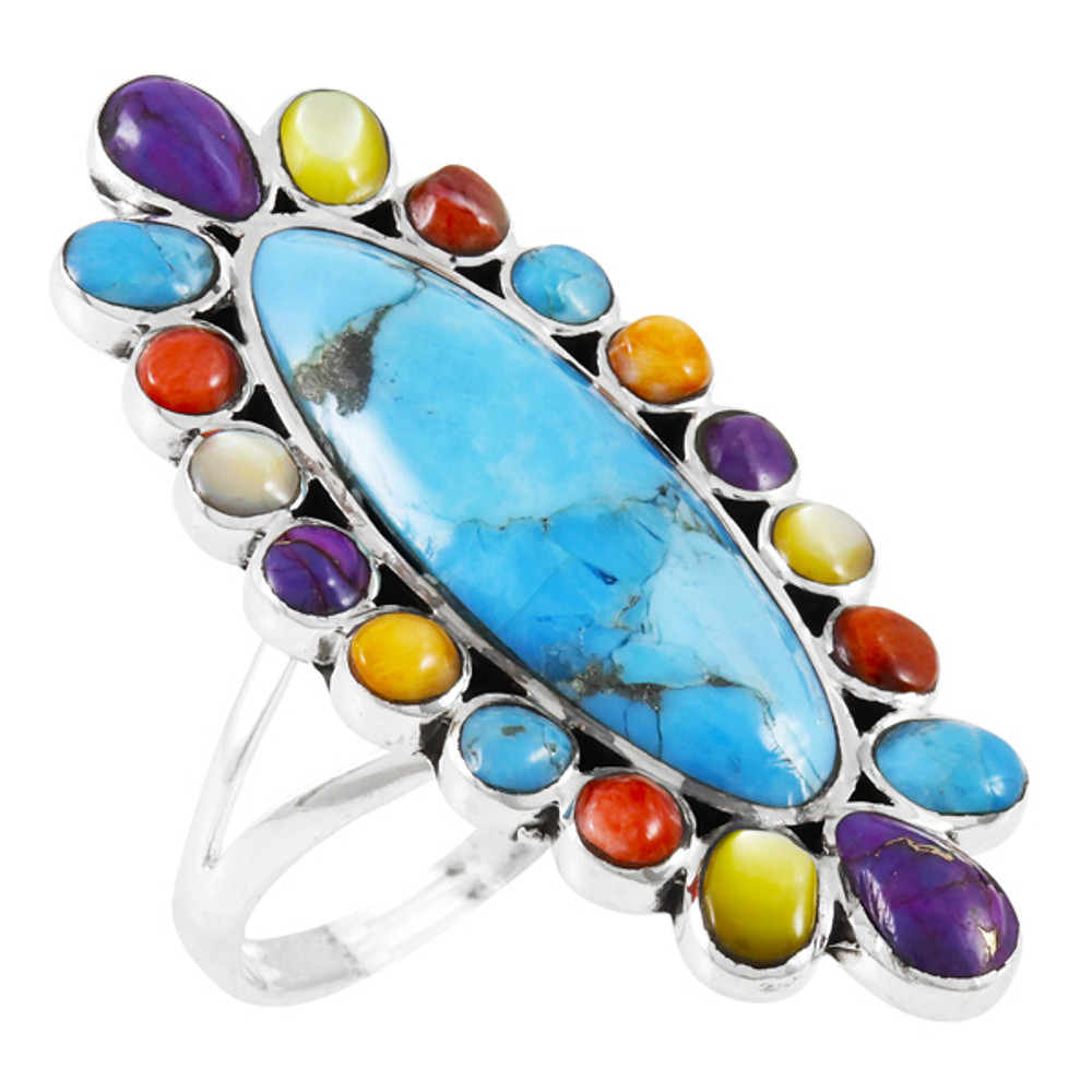 Multi Gemstone Ring Sterling Silver R2462-C71