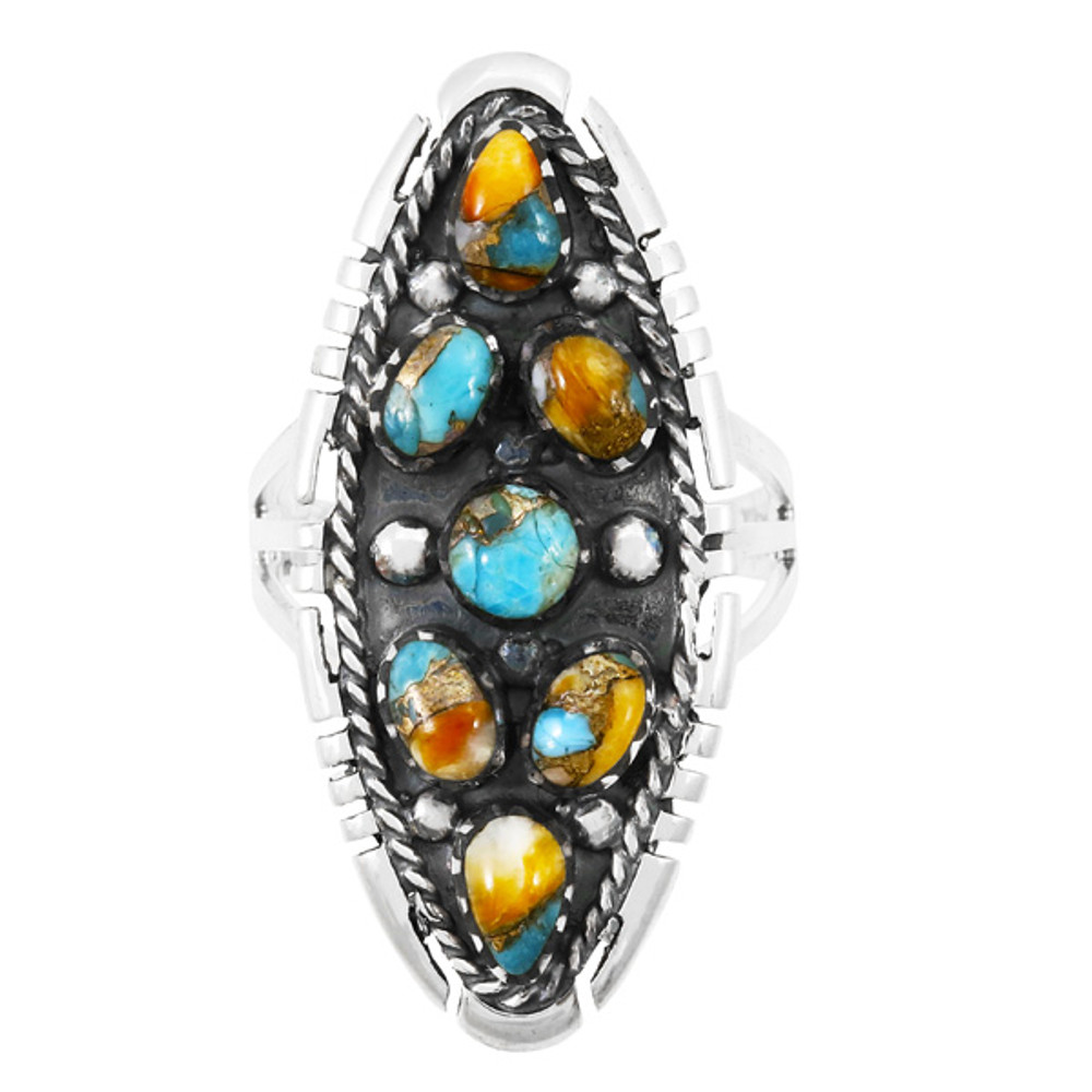 Spiny Turquoise Ring Sterling Silver R2468-C89