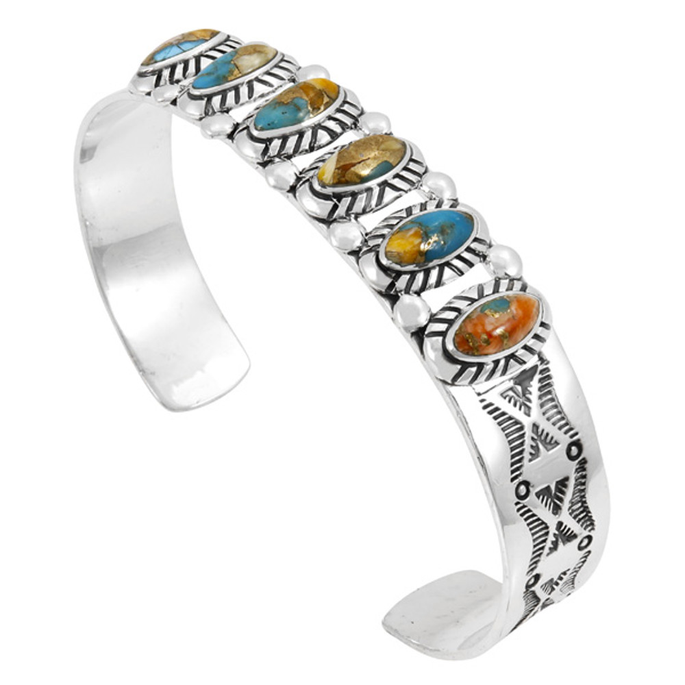 Spiny Turquoise Bracelet Sterling Silver B5577-C89