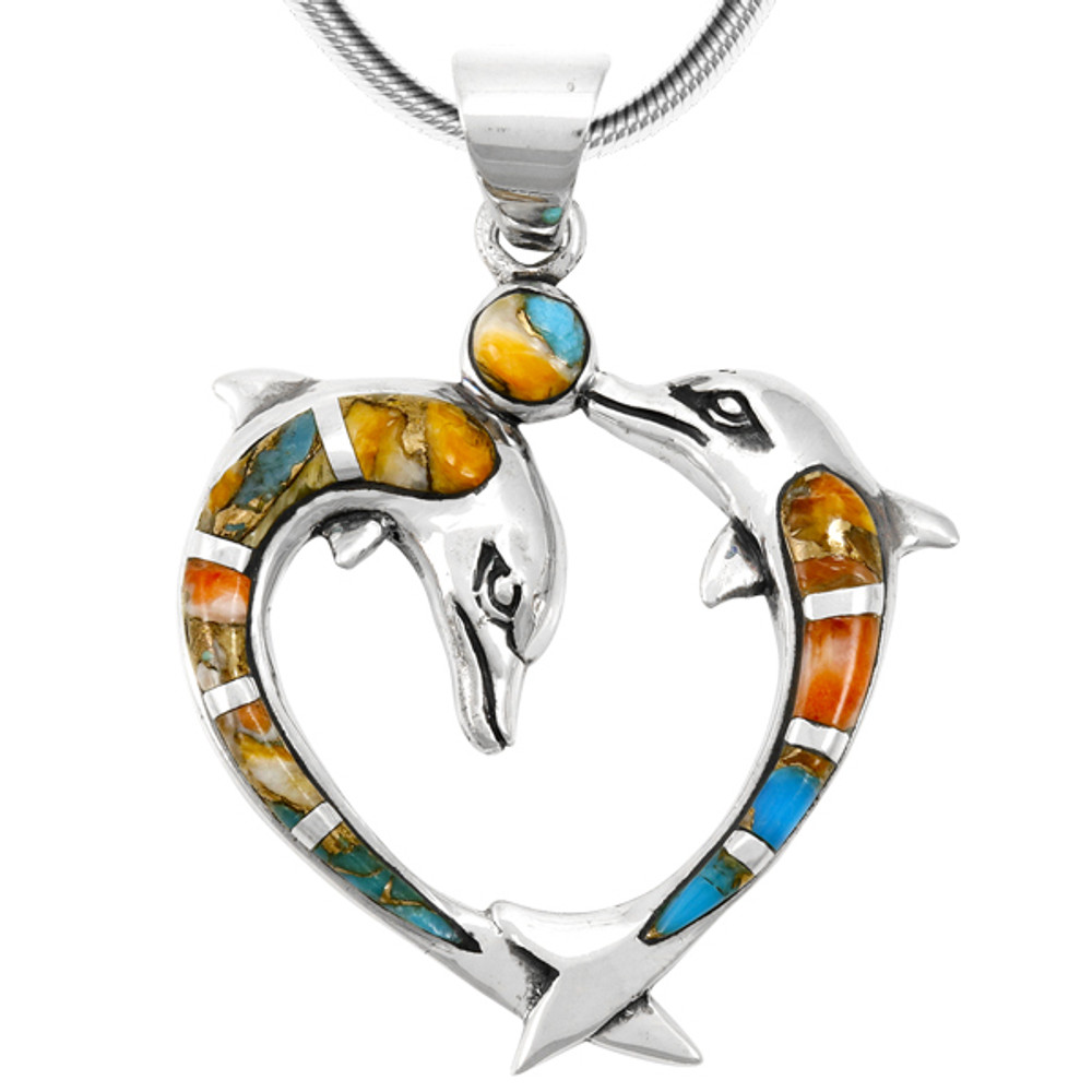 Spiny Turquoise Dolphin Pendant Sterling Silver P3169-C89