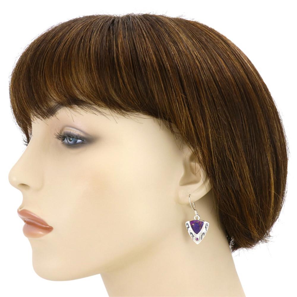 Purple Turquoise Pendant & Earrings Set Sterling Silver PE4042-C77