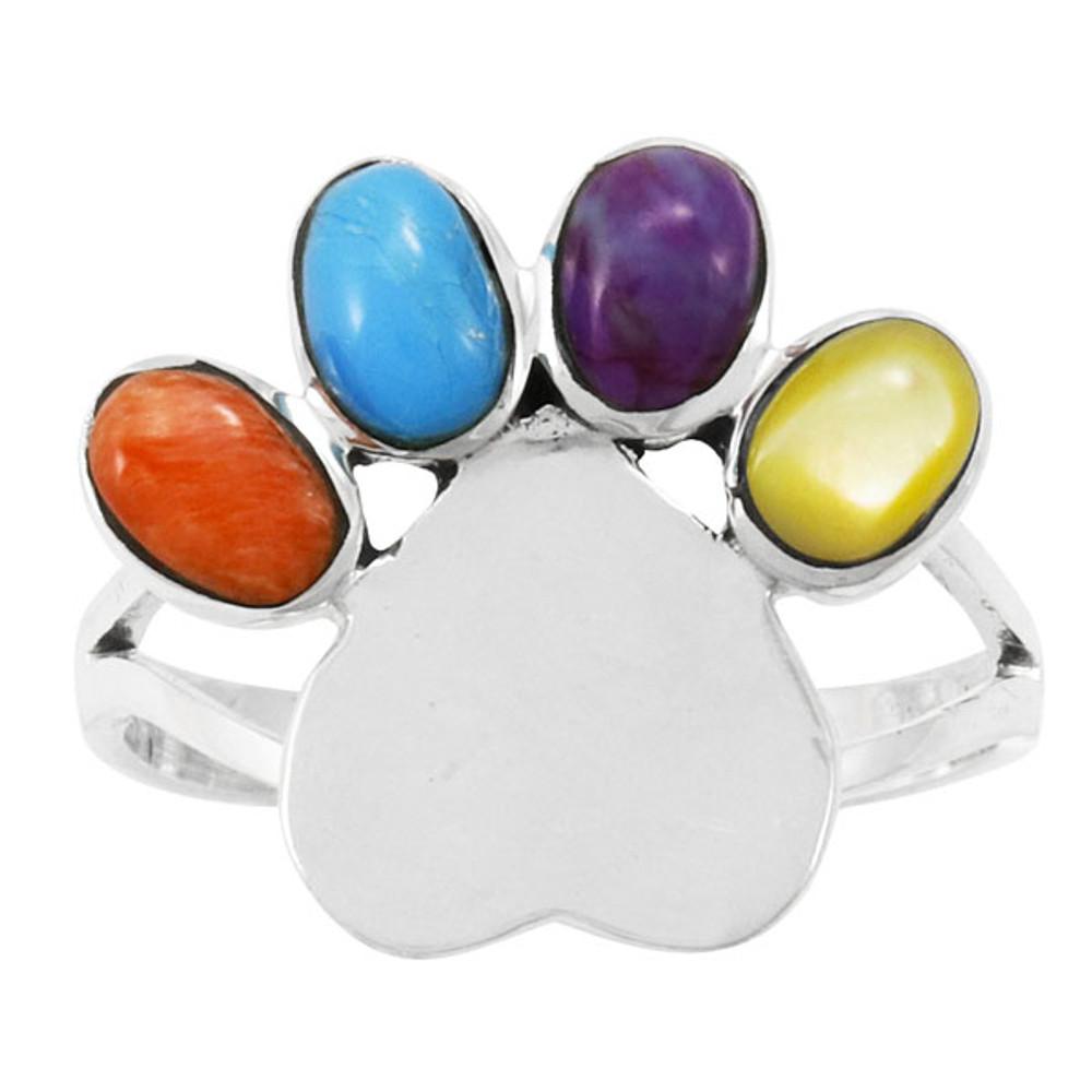 Paw Heart Ring Sterling Silver Multi Gemstone R2473-C71