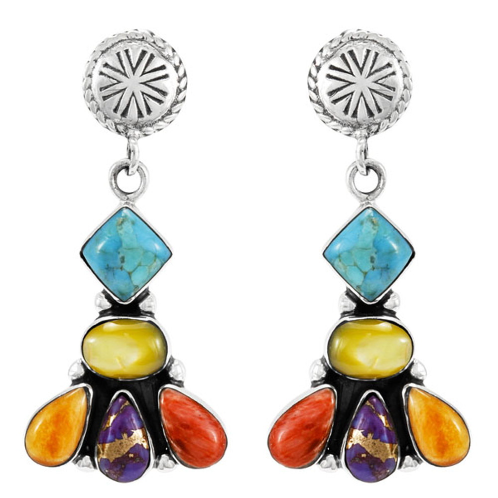 Multi Gemstones Earrings Sterling Silver E1132-C71