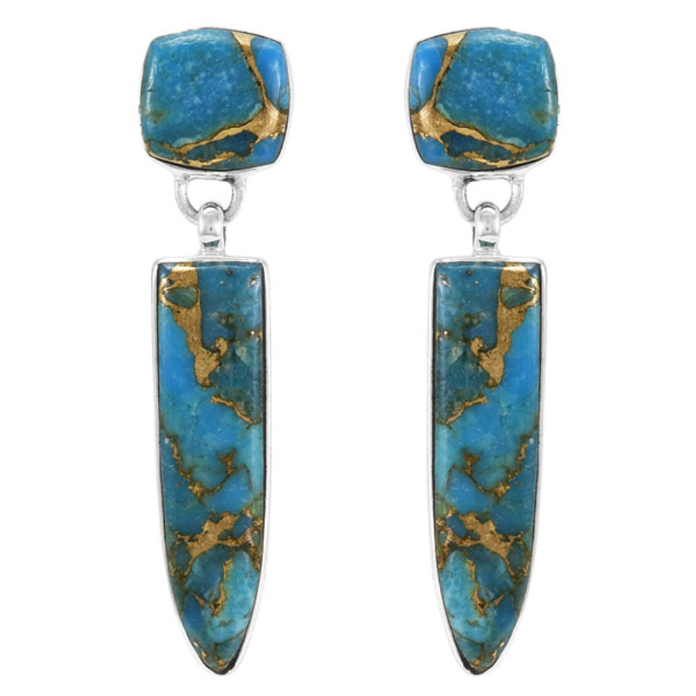 Matrix Turquoise Earrings Sterling Silver E1344-C84