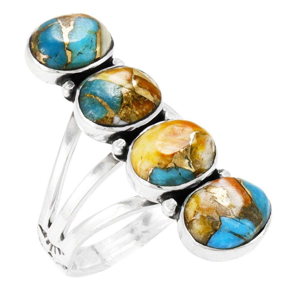 Spiny Turquoise Ring Sterling Silver R2408-SM-C89