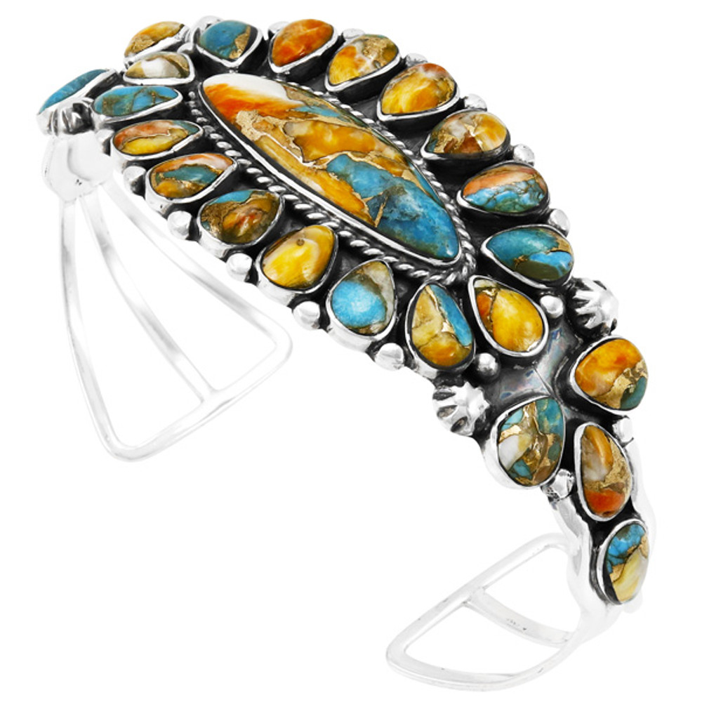 Spiny Turquoise Bracelet Sterling Silver B5494-C89